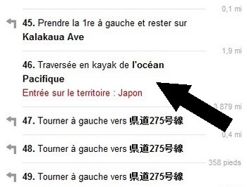 Des Etats Unis vers le Japon, version Google Maps