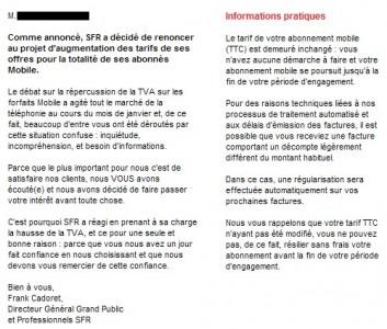 Décodage du mail de SFR sur laugmentation de la TVA