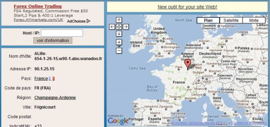 Positionner une adresse IP sur une carte Google Map