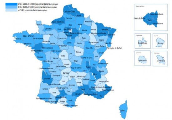HADOPI : la carte de France des internautes attrapés