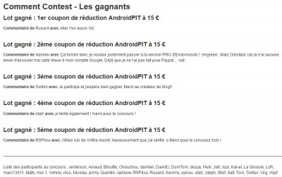 gagnants concours androidpit
