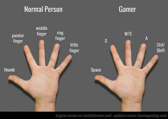Le nom des doigts de la main dun joueur